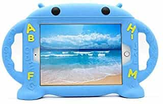 Compare For  iPad Mini 5     iPad Mini 4     iPad Mini 3   iPad Mini 2  Case Kids Safe Shockproof Silicone Rubber Case Cover Cartoon Robot Stand Case with Handles  blue  at KSA Price