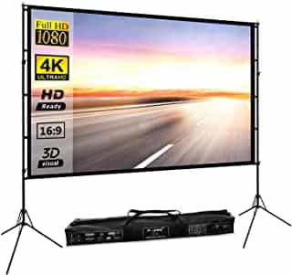 Compare Projector Screen with Stand 100inch Portable Projection Screen 16:9 4K  HD  Rear Front Projections Movies Screen for  Indoor Outdoor Home Theater Backyard Cinema Trave    New  at KSA Price