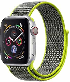Compare Promate Nylon Sports Wrist Strap, Lightweight Breathable Nylon Replacement Wristband for  Apple Watch 38mm 40mm with Hook Closure Wrist Strap Replacement for  Apple 1,2,3,4, Fibro 38 Green at KSA Price