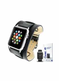 Compare PU  Leather Watch Band Strap With Screen Protector For  42mm Apple Watch Black at KSA Price