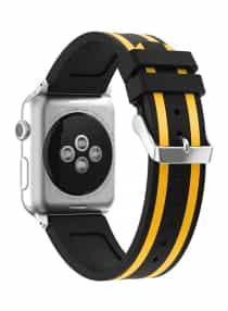 Compare Siicone Strap For  Apple Watch 42  mm  Yellow Black at KSA Price