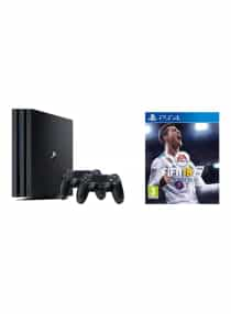 Compare PlayStation 4  Pro  1TB  Console With 2  DualShock 4  Wireless Controllers And  FIFA18  at KSA Price