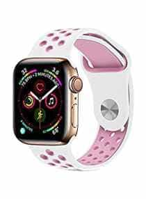 Compare Replacement Band For  Apple Watch Series 5 4 3 , Nike+, Sport, Edition 38mm, 40mm White Pink  at KSA Price