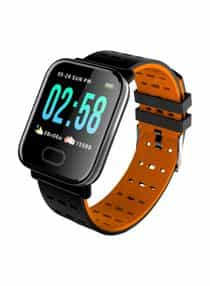 Compare Water Resistant Smartwatch Black Orange  at KSA Price